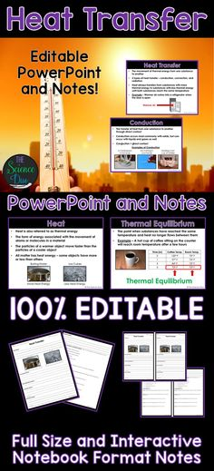 Introduce or help your students review heat, heat transfer - conduction, convection, and radiation, and thermal equilibrium with this PowerPoint presentation and student notes pages.