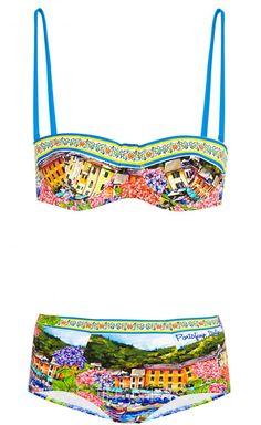 Bedruckter Bikini mit Bügel-BH,