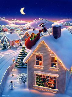 Christmas art by Robin Moline Christmas Scenes, Christmas Pictures, Christmas Art, Beautiful Christmas, Winter Christmas, Christmas Decorations, Xmas, Christmas Nails, Christmas Quotes