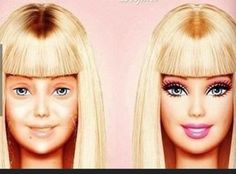 Barbie without makeup. I just died lol To be a little more realistic no-make up barbie needs at least a couple lashes. Still funny though :) Jane Fonda, Barbie Makeup, Makeup Toys, Makeup Stuff, Make Up Videos, Pat Mcgrath, Without Makeup, Just For Laughs, Katy Perry