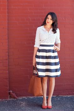 Pattern inspiration: polka dot top, striped skirt, red heels