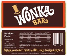 Willy Wonka Chocolate Bar Wrapper Printables