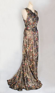 Lamé evening dress, c.1935, from the Vintage Textile archives.