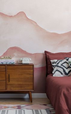 """We asked our store visitors in a survey, """"What type of style, theme, aesthetic, or mood are you trying to achieve in your home?"""" Below, 13 people tell us what their Dream Bedroom would look like – letting us in on their decor tastes, wallpaper choices, and how they want their bedroom to make them feel. We've brought their answers to life – creating their ideal bedroom spaces using some simple styling ideas that are easy to recreate. Read on to grab some great bedroom inspiration… Tree Wallpaper Mural, World Map Wallpaper, Wallpaper Design For Bedroom, Designer Wallpaper, Peaceful Bedroom, Dream Bedroom, Bohemian Style Rooms, Japanese Bedroom, Childrens Shop"""