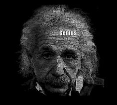 This poster uses only one word; genius, in a way which makes up a portrait of Albert Einstein. This is known as a typographic portrait. Creative Typography, Graphic Design Typography, Typography Art, Web Design, Type Design, Print Design, Typography Portrait, Portraits, Magazine Design