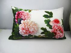 Decorative Velvet Pillow Cushion Cover Pink Peony by WhooplaArt