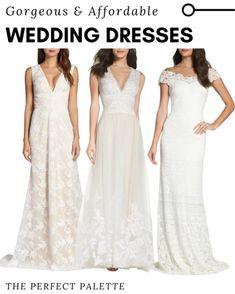 Affordable Wedding Dresses, Tadashi Shoji, Bridal Fashion, Bridal Style, Wedding Jewelry, Nordstrom, Bridesmaid Dresses, V Neck, Lace