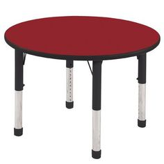 "ECR4Kids 36"" Round Activity Table Leg Type: Standard Leg with Swivel Glide, Side Finish: Navy, Table Top Finish: Maple"