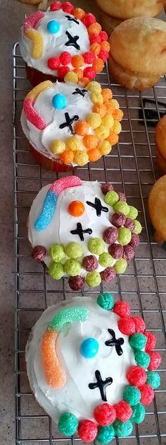 Clown cupcakes at a Circus Birthday Party!