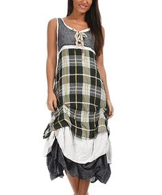 Look what I found on #zulily! Green & White Plaid Drape-Hem Maxi Dress #zulilyfinds