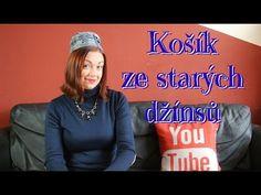 Košík ze starých džínsů / Obal na květináč / Košíček na kosmetiku do koupelny - YouTube