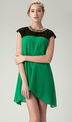 Black and Green Beading Neckline Dipped Hem Mini Dress