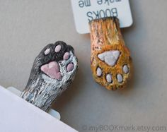 Cat paw Orange paw in the book Funny gift Cat in by MyBookmark, $25.00