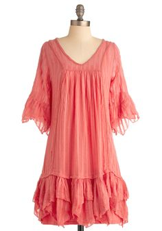 What a Kerchief Dress - Mid-length, Ruffles, Trim, Sheath / Shift, 3/4 Sleeve, Spring, Orange, Solid, Eyelet, Casual, Boho