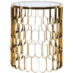 Koi Gold Side Table (¥99,175) ❤ liked on Polyvore featuring home, furniture, tables, accent tables, table, round end table, round table, round glass top end table, modern accent tables and round glass top table