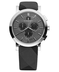 Burberry Watch, Men's Swiss Chronograph Beat Check Fabric Strap 44mm BU1756
