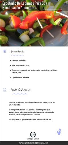 Receita Fit de Espetinho De Legumes   ➡ https://www.segredodefinicaomuscular.com/espetinho-de-legumes-para-sua-reeducacao-alimentar/  #SegredoDefiniçãoMuscular #receitasfit #recipe  #receita #diet #dieta #fit