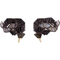 """Nak Armstrong Black Spinel, White Sapphire & Rainbow Moonstone """"Button"""" Earrings at Barneys.com Button Earrings, Black Spinel, White Sapphire, Rainbow Moonstone, Candy, Jewels, Chocolate, Stud Finder, Jewerly"""