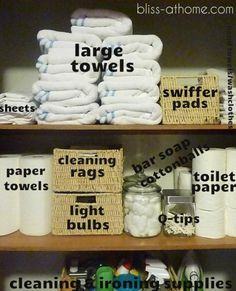 Storage ideas for your linen closet or bathroom closet.
