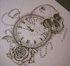 Skull / stop watch/ rose tattoo sketch