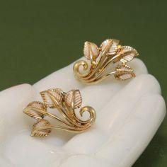 Vintage Coro Gracefully Curved Cream Enamel Leaves Earrings