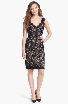 ML Monique Lhuillier Sleeveless Lace Sheath Dress available at #Nordstrom