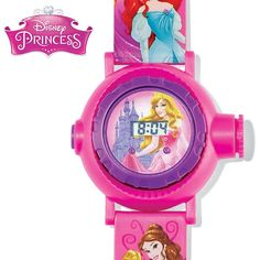 """This royally fun watch projects 10 images like Aurora, Cinderella, Rapunzel, Ariel, Belle and various fairy tale-related symbols. Digital display. Adjustable strap, 9 1/4"""" L. For princesses ages 6 and up. Man-made materials.©DisneyWhile Supplies Last"""