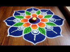 Here's one of my rangoli designs for Diwali. Its big and simple flower rangoli design. This pattern of the rangoli is my own creative work. Rangoli Designs Simple Diwali, Simple Flower Rangoli, Simple Rangoli Border Designs, Rangoli Designs Latest, Rangoli Designs Flower, Free Hand Rangoli Design, Small Rangoli Design, Rangoli Kolam Designs, Rangoli Designs With Dots