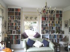 Painted Bookcases with Integral Windw Seat