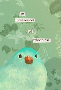 typeartist:  I'm three ounces of whoop-ass. | By Mincing Mockingbird. | Wish I'd thought up that name.