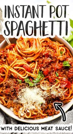 Make Spaghetti and Meat Sauce in the Instant Pot - it's so quick and easy! But if you ask me, it's the best way to make it - the flavor is outstanding, the perfect family meal. | #instantpot #instantpotrecipes #instantpotmeal #spaghetti #spaghettiandmeatsauce #groundbeefrecipes #easydinnerrecipe #easydinner #familyrecipes #easyrecipes