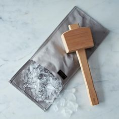 """Hand-Stitched Ice Crushing Bag with the """"Schmallet"""" Wooden Ice Mallet"""