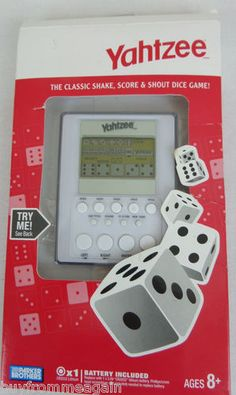 Yahtzee White Handheld Electronic Game Dice Hasbro Parker Brothers 2007 NEW