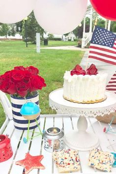 Loving the cake and cookies at this July 4th party! See more party ideas and share yours at CatchMyParty.com