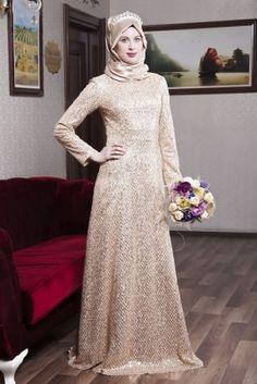 Azra Özer Gold Ay Işığı Tesettür Abiye Elbise