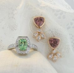 New styles at www.zomacolor.com  Mint Garnet and Diamonds in 18K White Gold and Rose Zircons with Diamonds in 18K Rose Gold.