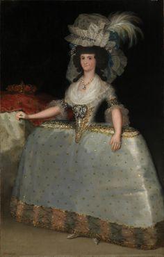 """Francisco de Goya: """"La reina María Luisa con tontillo"""". Oil on canvas, 205 x 132 cm, 1789. Museo Nacional del Prado, Madrid, Spain"""