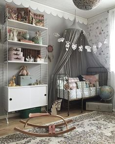vintage gender neutral nursery gray white wood