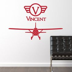 Vintage Plane with Name Wall Decal - Children's Boy Bedroom Wall Decor Sticker - Fighter Airplane - CB148A. $20.00, via Etsy.