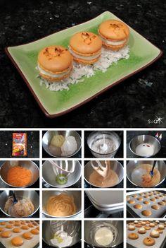 Thai tea and coconut cream macarons