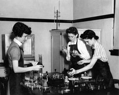 Florida State College for Women students experimenting in the chemical lab: Tallahassee, Florida Date: ca. 1940 (love the short haircut on the left!)
