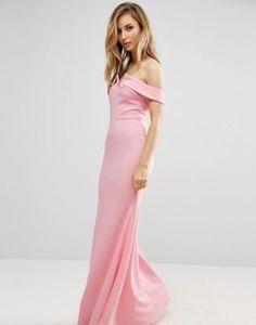 4ad9fa3045 Vestido de dama de honor largo con escote bardot y cola de pez de Club L
