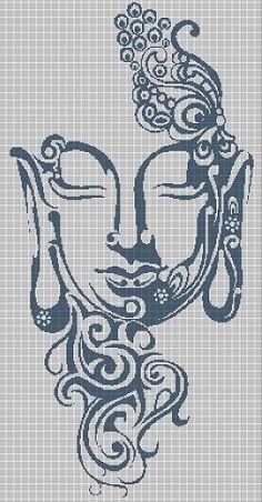Buddha head art silhouette cross stitch pattern by Vandihand on Zibbet Celtic Cross Stitch, Blackwork Cross Stitch, Beaded Cross Stitch, Cross Stitch Borders, Cross Stitch Animals, Counted Cross Stitch Kits, Cross Stitch Designs, Cross Stitching, Cross Stitch Embroidery
