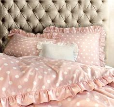 Amazon.com: Chic Ruffled Edge Polka Dot Duvet Quilt Cover Classic Parisian Romantic Vintage Ruffle Girls Teen Cotton 3pc Bedding Set Full Queen Turquoise or Pink (Queen, Blue): Home & Kitchen