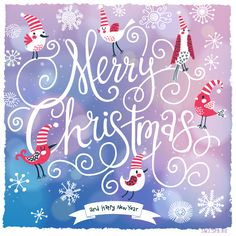 Fantastic Merry Christmas card in vector. Cute stylish birds on Merry Christmas text on bright bokeh background - stock vector Merry Christmas Text, Christmas Tea, Christmas Cards, Bokeh Background, Textured Background, Happy Year, Illustration, Royalty Free Stock Photos, Neon Signs