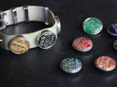 Bracelet with interchangeable circuit board buttons, customizable bracelet for techie girl, gift for her