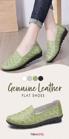 【US$ 24.53】Women Casual Flowers Solid Color Genuine Leather Flats #womenflats #womenshoes #fallshoes #falloutfits #shoes