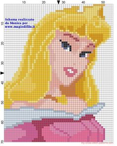 Sleeping Beauty Princess Aurora cross stitch pattern - free cross stitch patterns