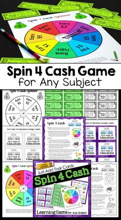 Spin 4 Cash is a game that can be played to review or practice any academic content when you add your own task cards. Students spin for game cash after correctly solving problems or answering questions, and the first one to earn $20 wins! Prepare it once and use it over and over throughout the year! $ #LauraCandler