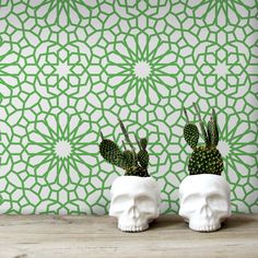 Green geometric and modern floral pattern on this peel&stick, self-adhesive wallpaper brings lot of greenery to the interior. #floral #geometric #removablewallpaper #pattern #walldecor #wallcovering #wallmurals #abstract #moderndesign #moderndecor #decorideas #green #white #interiorinspiration #interiordecor